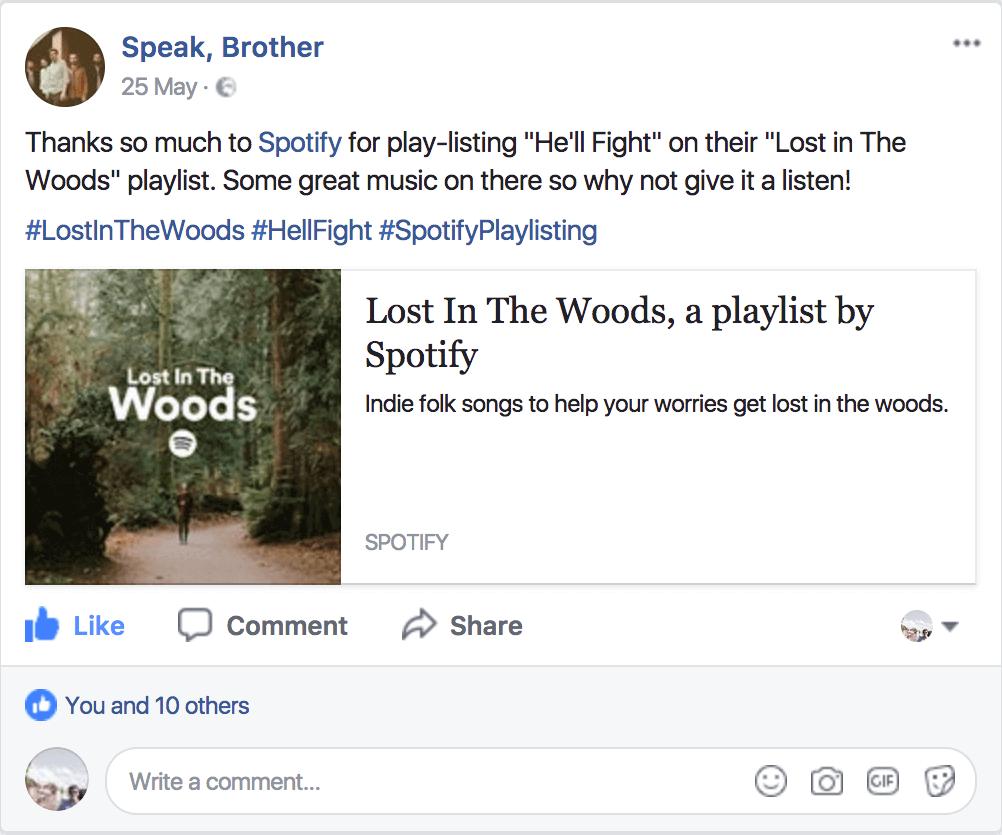 Speak, Brother Spotify Facebook